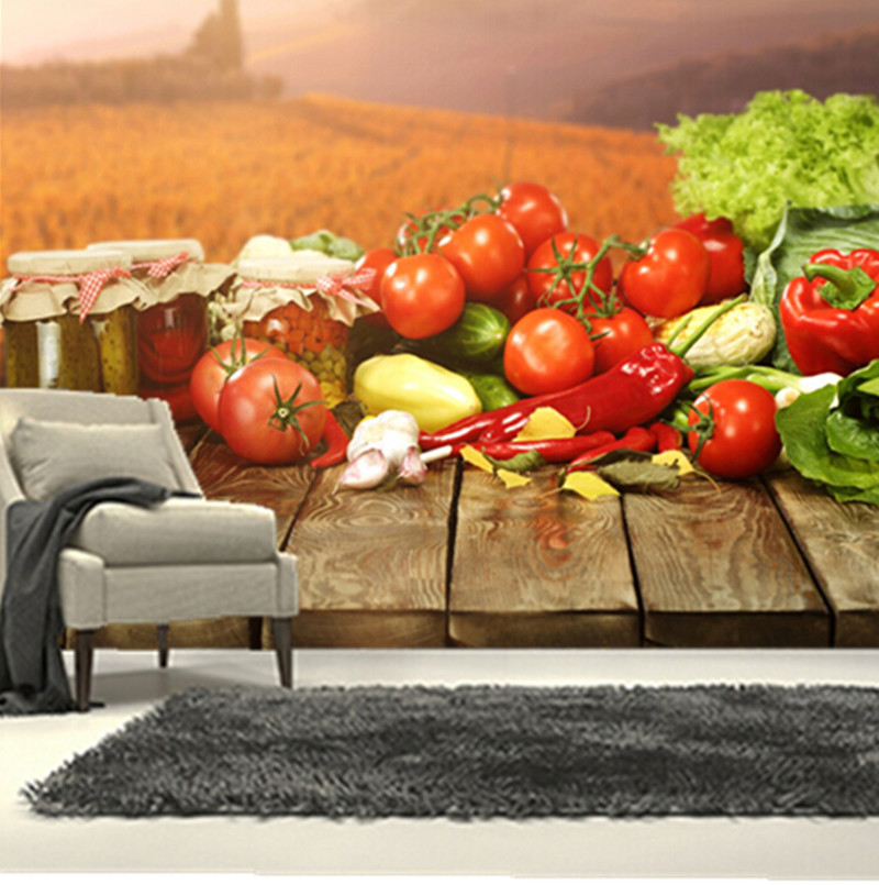 The  custom 3D murals,fresh vegetables and canned, cafe wall restaurant the kitchen the  dining room wall wallpaper<br>