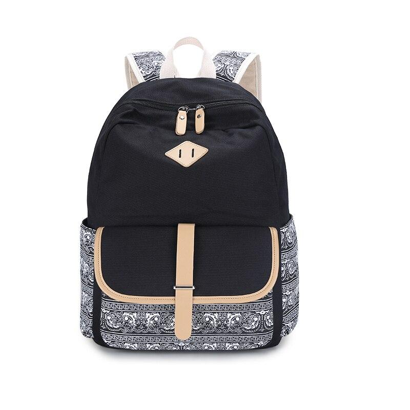high school backpack for girls back pack mochila ethnic backpacks ladies floral canvas backpack black bookbag sky blue cloth bag<br><br>Aliexpress