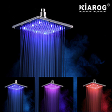 8 Inch Rain Led Shower Head without Shower Arm. 3 Colors Changed Led shower. Water Powered Led chuveiro ducha