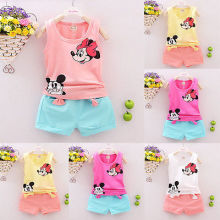 2017 Summer Toddler Kids Baby Girls Mickey Mouse T-shirt Tops Shorts Pants Set 2PCS