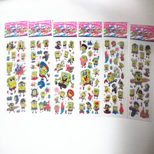 Random 3 sheets anime spongebob 3D cartoon stickers PVC bubble puffy reward kids kawaii stickers(China)