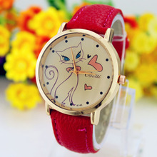 relogio feminino luxo de Fashion Women PU Leather Strap Analog Quartz Wrist Watch Cute Cat watches Clock Casual Dress watch