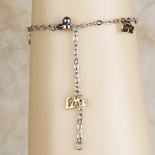 Top Fashion Stainless Steel Love Letter Design Women's Chain Ankle Anklet Bracelet Barefoot Sandal Foot Jewelry 2016(A1060-1061)(China)