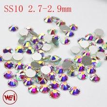 SS10 2.7~2.9mm Glue On Rhinestone Crystal AB 1440pcs Round Glass Stones 3D  Nail Art Non Hotfix Rhinestones 7aa3ce4dd297