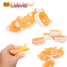 1PCS New Japan Rilakkuma Squishy Slow Rising Bear Sandwich Cute Phone Straps Pendant Scented Bread Cake Kids Toy Gift Wholesale(China)