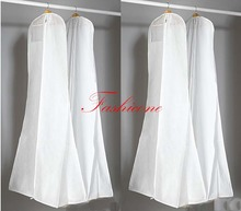 "White Breathable Wedding Prom Dress Gown Garment Cover Storage Bag Clothes Zip 170cm/68"" High Quality"