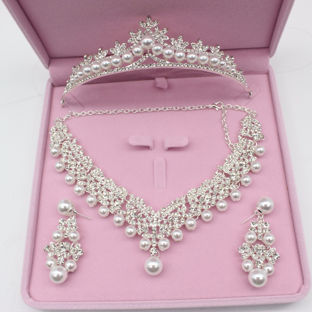 Luxurious Pearl Wedding Bridal Jewelry Sets Tiara Crowns Necklace Earrings For Women Decorations Wedding Jewelry Accessories title=