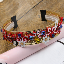 New Fashion Occident baroque Hyperbole hair hoop gem flower crown gold Tiaras Retro wedding Hair accessories jewelry love Gift