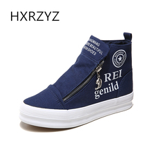 HXRZYZ women high-top canvas shoes platform sneakers shoes spring/autumn new fashion breathable zipper black casual flats shoes(China)