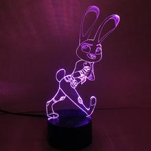RGB Crazy animal City rabbit 3D Bulbing Light Zootopia FOX NICK WILDE visual illusion LED lamp action figure toy Christmas gift