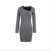 Buy Young17 Autumn Dress Women 2017 Burgundy Gray Black Knitted Bodycon Zipper Oblique Collar Plain Sexy Dress Bodycon Dress for $18.14 in AliExpress store