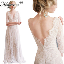 Mryarce Romantic French Lace Wedding Dress Deep V Neck Empire Waist A-Line Open Back Wedding Dresses Bridal Gowns