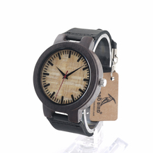 BOBO BIRD C23 Unisex Leather Band Antique Wood Wristwatches Men With Green Anlaogue Display Ebony Wooden Watches in Gift Box