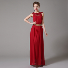 Unique Design Red Bridesmaid Dress With Sashes Scoop Neck Ruffles Chiffon A Line Long Party Gowns Real Photos