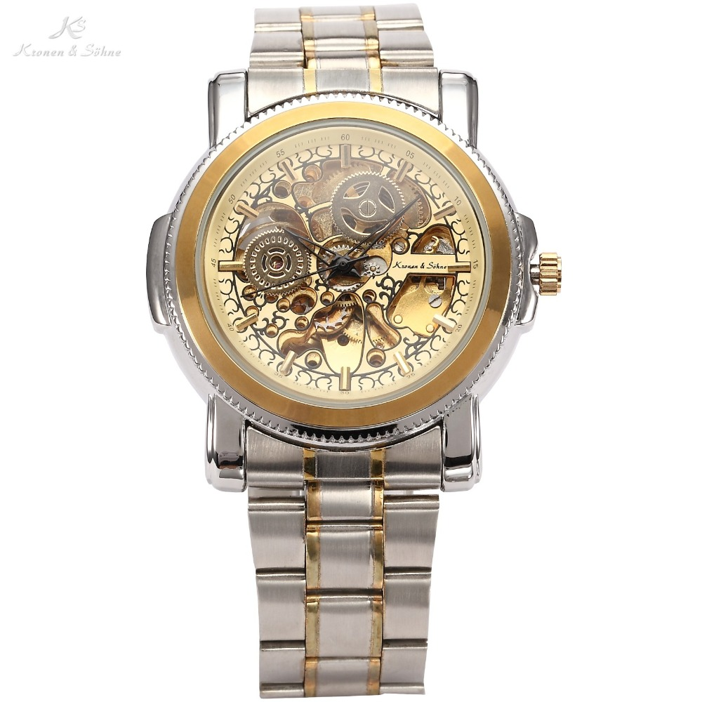 Luxury KS Royal Carving Skeleton Steampunk Automatic Golden Stainless Full Steel Dress Business Mechanical Mens Watches /KS139<br>