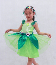 Free shipping ,children girl green fairy tinkerbell dress and headband ,cosplay party maiden costume .(China)