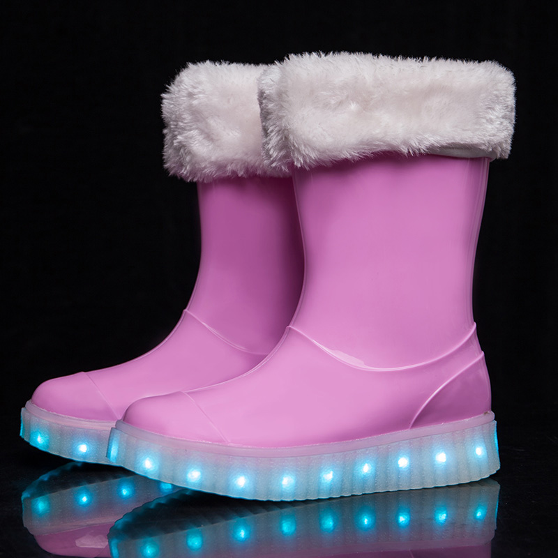 DJSUNYMIX Winter Children snow boots for kids winter plush boys girls led glowing shoes antislip galoshes rubber Rainboot<br>