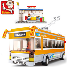 Building Block Sets Compatible with lego trolley bus traffic series 3D Construction Brick Educational Hobbies Toys for Kids