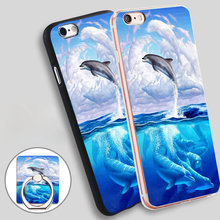 Dolphin Art Sky Phone Ring Holder Soft TPU Silicone Case Cover for iPhone 5 SE 5S 6 6S 7 Plus