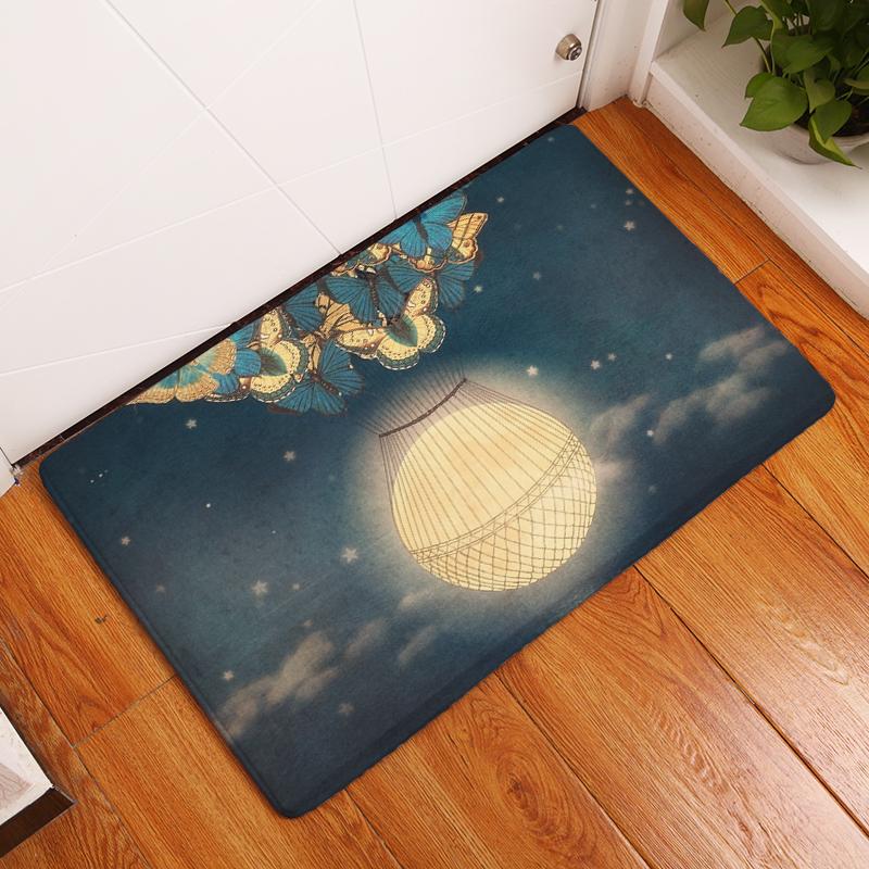 Flannel Floor Mats Sea Moon Printed Bedroom Living Room Carpets Cartoon  Bear Pattern Mat For Hallway Anti Slip Tapete   Us109