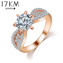 17KM Romantic Wedding Crystal Rings Rose Gold Color Big Cubic Zircon Womens Fashion Jewellery Ring Full Size Anillos(China)