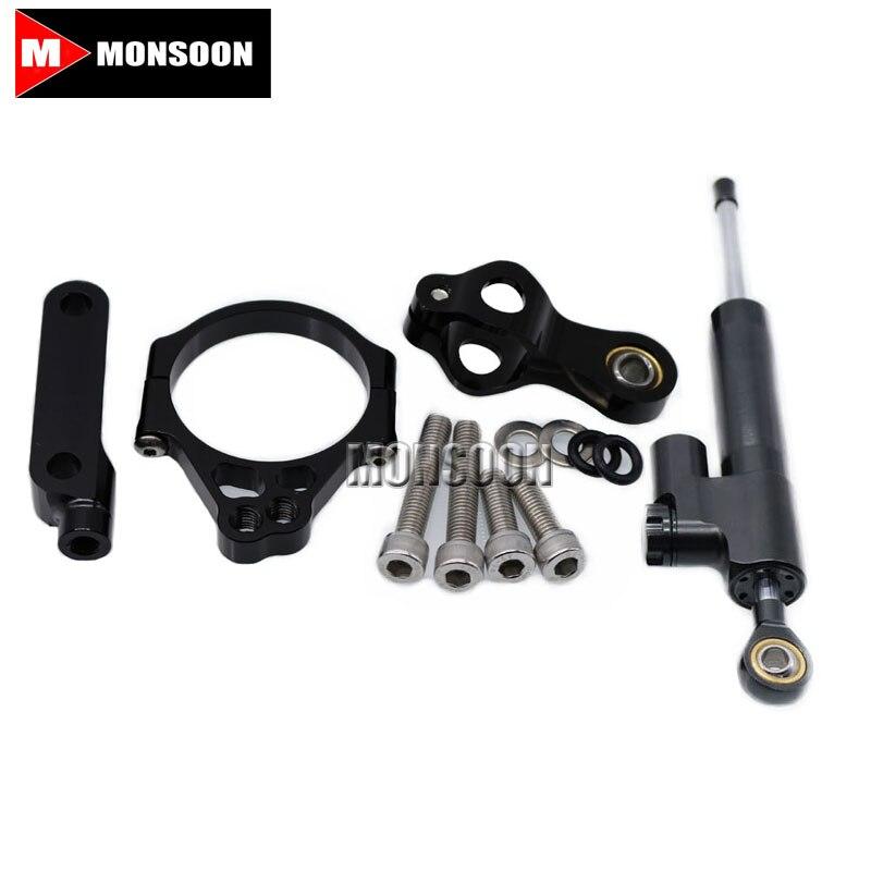 For KAWASAKI Versys 650 Versys650 2015-2016 Motocrycle Street Bike Steering Damper Mounting Kit Stabilizer Adjustable Black<br>