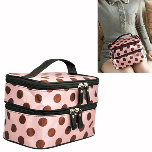 Wholesale 10* Pink Sweet Girls Retro Pro Dot Beauty Case Makeup Large Cosmetic Toiletry Bag<br>