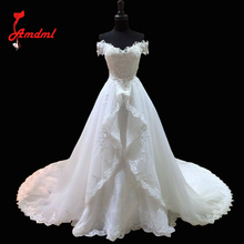 Amdml Fashionable Lace Mermaid Wedding Dress 2017 Detachable Train Vestido De Casamento Backless Vintage Boat Neck Wedding Gowns(China)