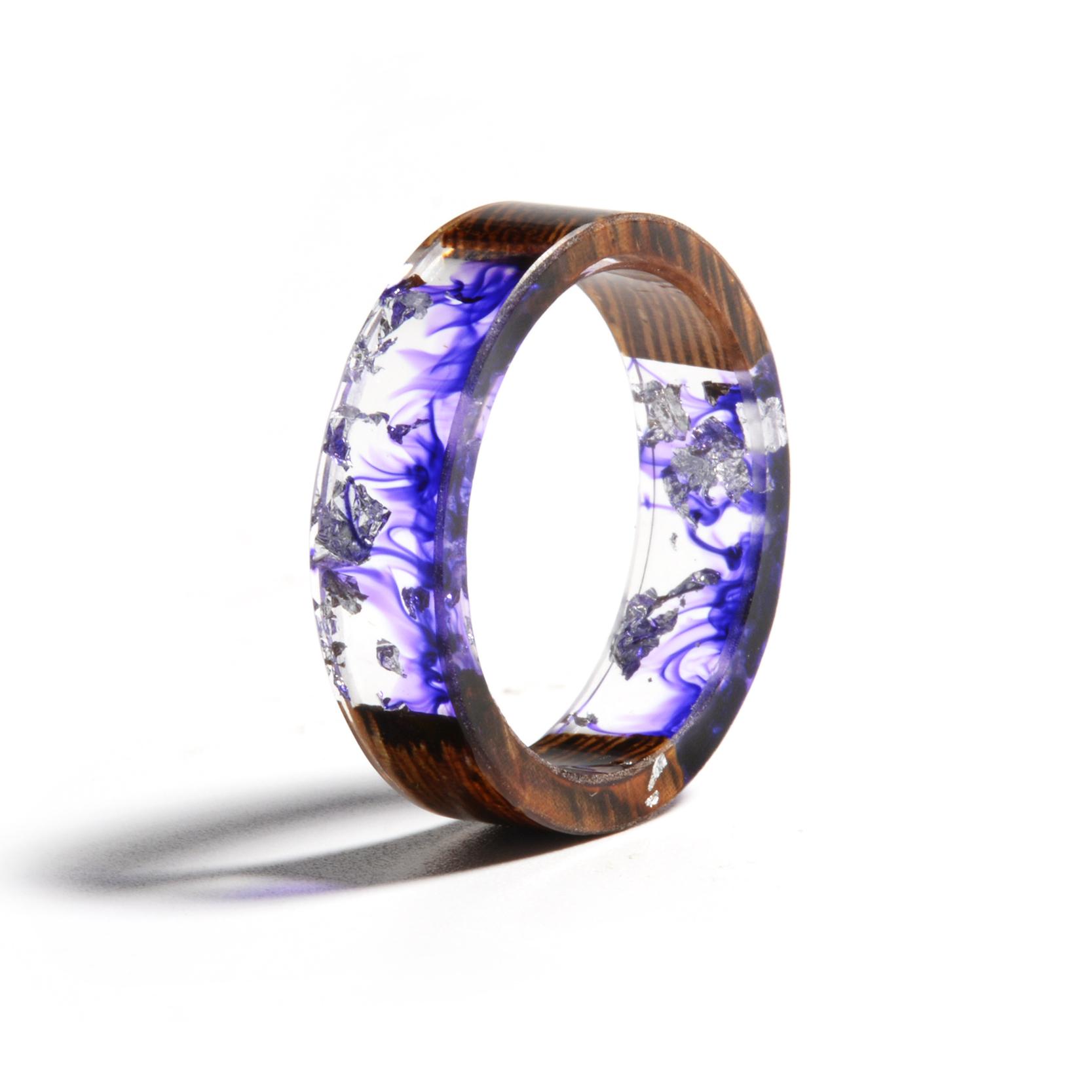 Clear Wood Resin Ring Handmade Dried Flower Hand Jewellery 15