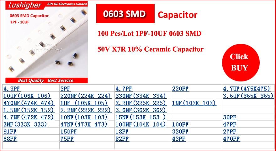 4000PCS MLCC 1608 X7R 10/% series 100nf、10nf、1nf、10uf、1uf、SMD ceramic capacitor