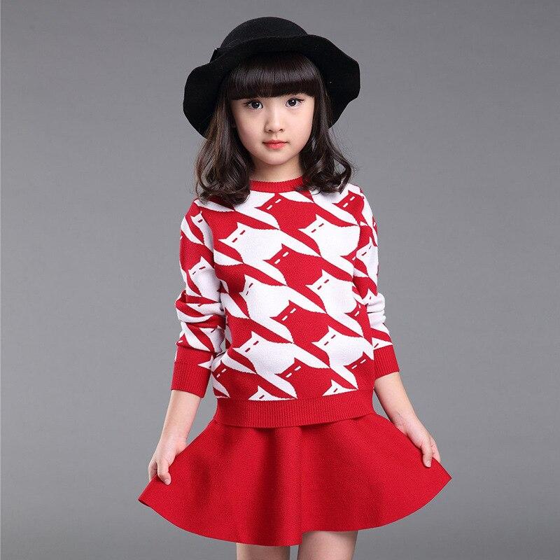 Girls Spring Autumn Winter Dress Clothing Set Girls Knitting Sweater Coat Clothing Set  Sweater Coat + Short Skirt 2 Pieces <br>