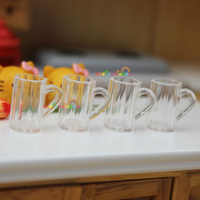4pcs Mini Beer Cups Mugs 1:12 Dollhouse Miniatures Clear Transparent Dining Tableware