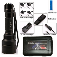 LED CREE XM-L2/T6 Flashlight 8000 lumens Torch high power Tactical Flashlight Lamp Light +Charger+1*18650 Battery+Holster(China)