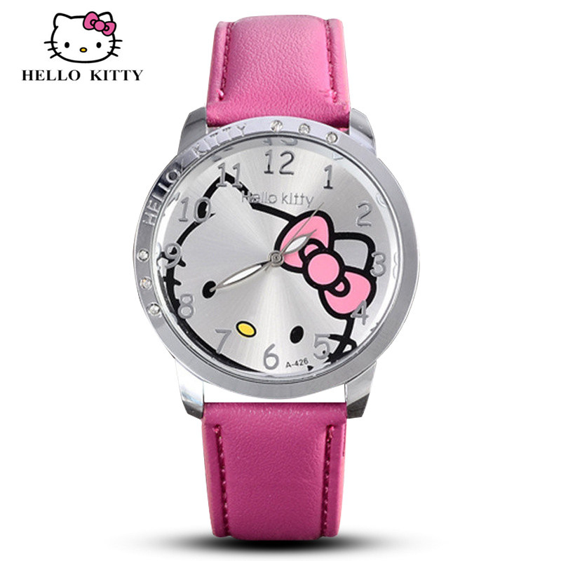 Hello Kitty Watch Women Kid Quartz WristWatch Cartoon Leather Cute Watch Children 3D Crystal Fashion Hot Relojes Christmas Gift(China (Mainland))