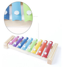 HEY FUNNY 1PC/lot 20*10cm enlightenment Roll Bell music aids wooden children toys small octave hand knock piano Toys
