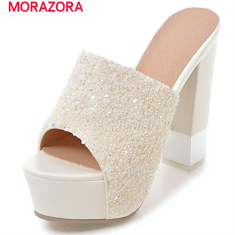 MORAZORA Square heels shoes in summer non-slip solid two colors sandals women platform shoes fashion big size 34-43<br>