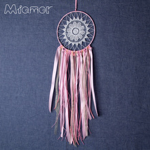 New Fashion Gift India Pink Lace Dreamcatcher Wind Chimes Indian Style Feather Pendant Dream Catcher Regalo Amor150704006
