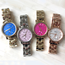 2015 New Clean Classic High-Polished Bracelet Watch,7 Colors Simple Color Dial Watch Luxury Geneva Women Stainless Steel Watch(China)