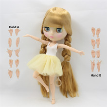 free shipping Factory Blyth Doll blonde hair with fringes/bangs transparent face JOINT body BJD Toy gift 1/6 doll neo BL0736