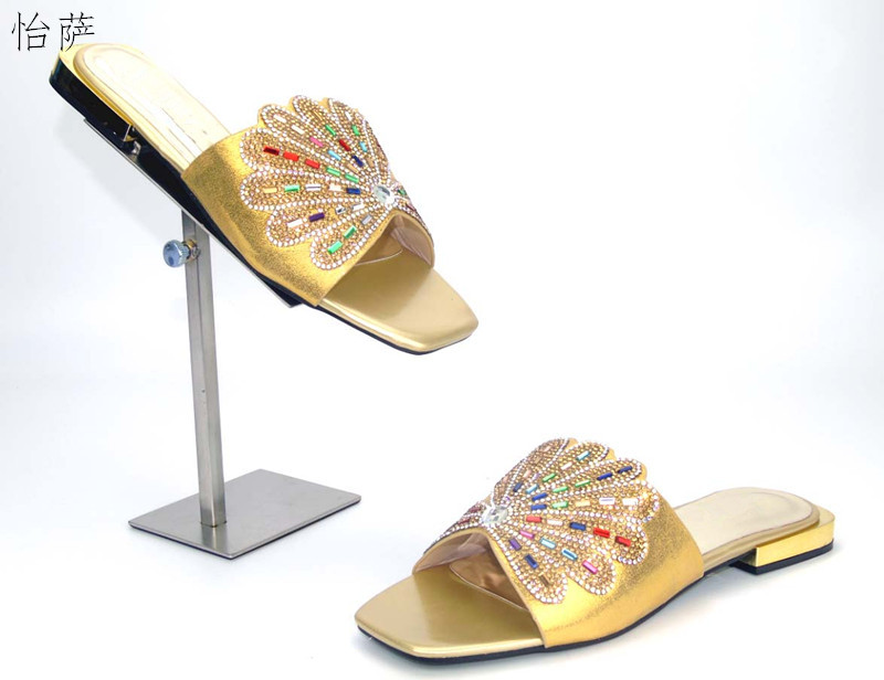 doershow New arrival gold color rhinestones design ladies pumps African sandal shoes for party  size 37-41 !!FA1-3
