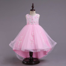 Kids Girls Party Dress Summer long tail Flower Formal Wedding Dresses Girls Princess Ball Gown Vestidos 2-12Y Girls clothes