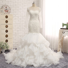 Buy Mermaid Wedding Dress Long Sleeve Transparent Real Photos Cascading Ruffles Lace Ball Gown Wedding Dresses Plus Size Bridal Gown for $199.89 in AliExpress store