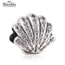 Shealia Ariel Shell Charms Bead 925 Sterling Silver Pave CZ Seashell Beads For Jewelry Making DIY Brand Bracelets Accessories