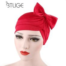 Women Bow Pleated Turban Hat Bandanas Chemo Cancer Hair Loss Cap Head Wrap Scarf Pure Color Headband Cap(China)