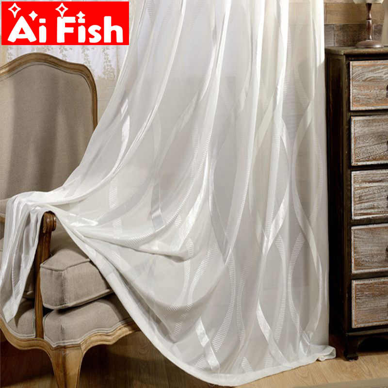 White Voile Solid Flocked Sheer Curtains For Living Room Modern Striped Vertical Blue Tulle Curtains Drapes For Bedroom AP150-30