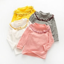 Long sleeves girl cotton T-shirt Children's bottoming shirt solid color High collar lotus leaf side Children's clothing aobei