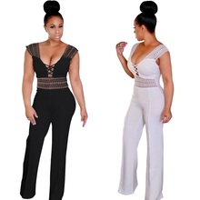 NEW Blue Jumpsuit Women Clothing Casual Surplice Wrap Lace Patchwork Jumpsuits Rompers Pants  Big Size Wide Leg Pants Overalls