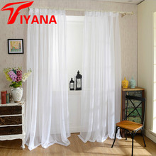 Europe Solid White Yarn Curtain Window Tulle Curtains For Living Room Kitchen Modern Window Treatments Voile Curtain P184Z40(China)