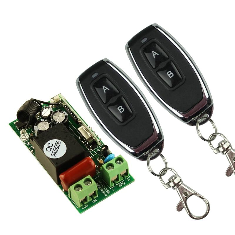 220V 1CH 10A RF Remote Control Switch Wireless Light Lamp LED Receiver 2 Transmitter EV1527 Chip<br><br>Aliexpress