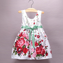 2015 summer  hot sale Rose  dress flowers dress for baby girls with green veil belt summer style dress party princess dress